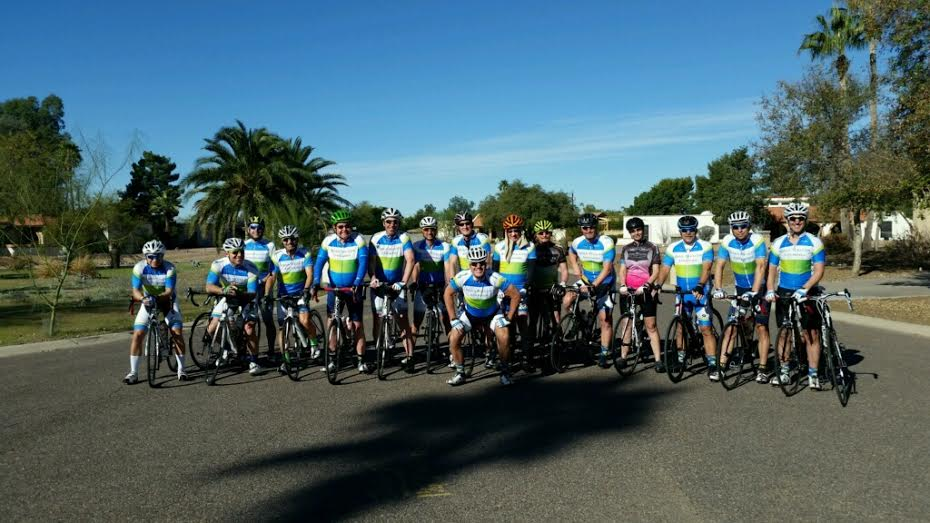 Big D Cycling team getting ready for another training ride in Scottsdale, AZ.