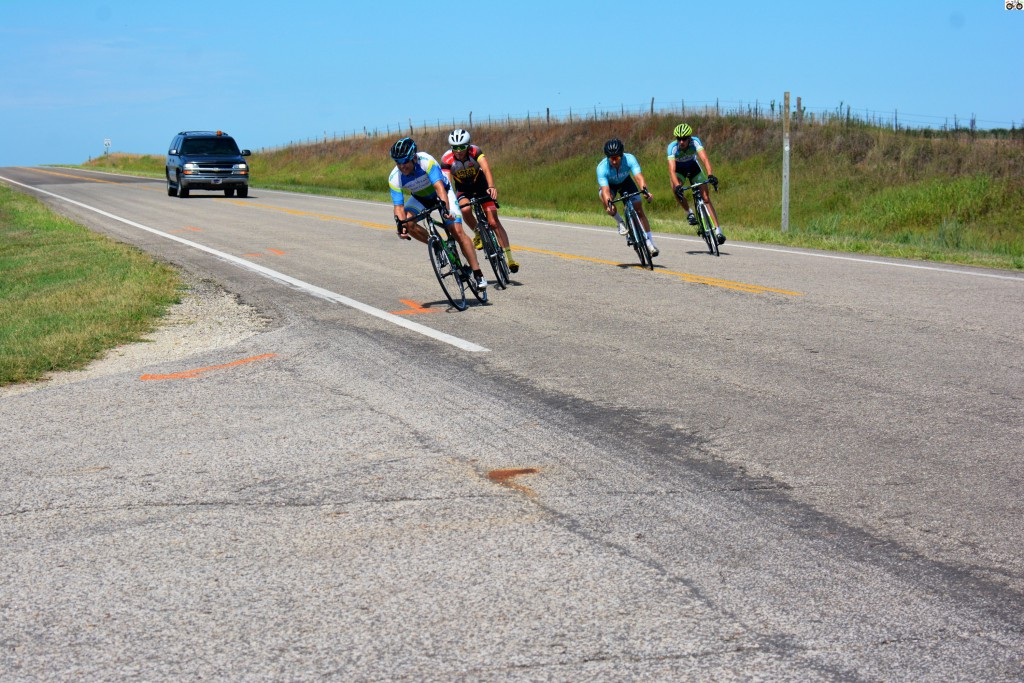 Kleidosty leading the breakaway down the final stretch to the finish line.