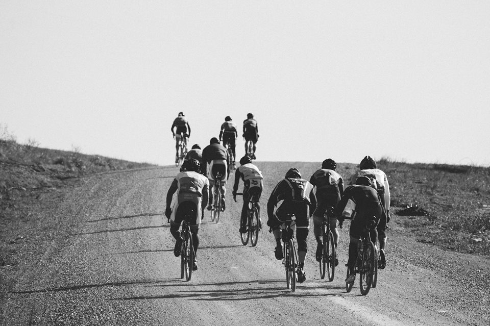 Kleidosty, left forefront, with Jones over his right shoulder. Jensen, Tilford and Lambie off the front. Tilford won the KOM climb competition.