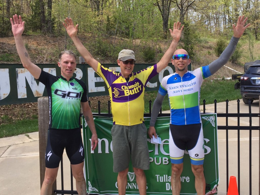 Curt Shelman, Greg Vaught and Roger Williams on the Masters 50+ podium.