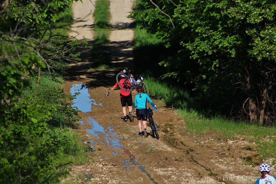 Even with the dry weather leading up to the race, mud sections were still on the course. Photo credit: Eric J. Stites