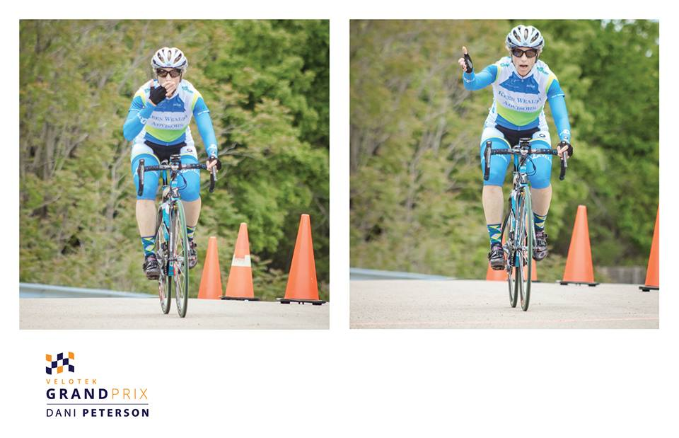 Kathy Johnson is blowing a kiss to the finish of her first stage race! Photo credit: Dani Peterson