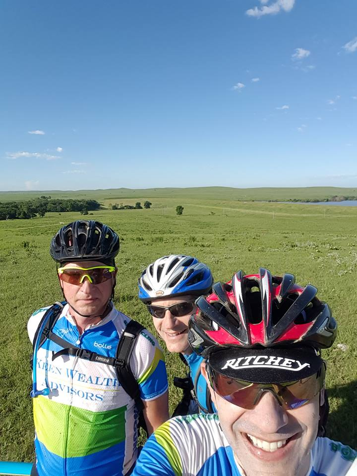 Ken and Michael taking in the Flint Hills scenery with a friend.